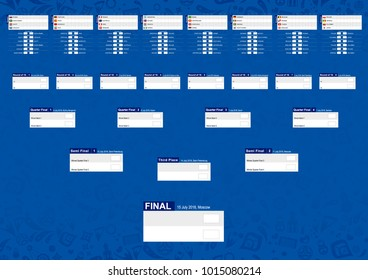 Tournament schedule, Football championship Bracket on blue abstract background. Size A2 ready for print. Vector Illustration.