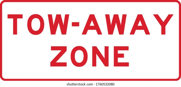 tow away zone plaque red isolated vector illustration
