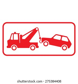 Tow car icon on white background.