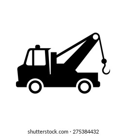 Tow car icon on white background. Evacuation sign. Tow car in vector. Tow car isolated.