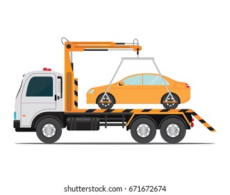 Tow truck car for transportation ,road car repair service assistance vehicles with damaged or salvaged cars vector illustration isolated on white background.