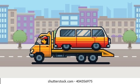 Tow truck and city background pixel art game style layer vector illustration