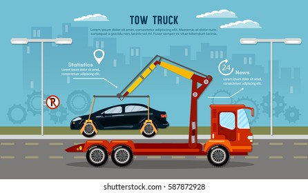 Tow truck in the city. Car service infographic auto towing tow truck for transportation faults and emergency cars