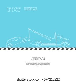 Tow truck concept. Tow truck evacuating the car. Round the clock evacuation of cars. Design can be used as a logo, a poster, advertising, singboard. Vector element of graphic design. Thin line style.
