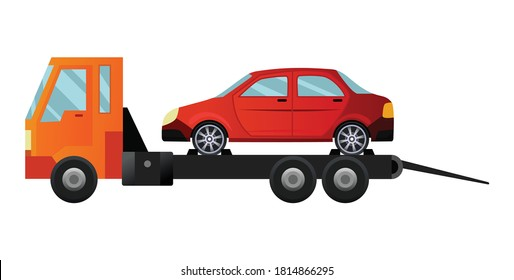 Tow truck. Cool flat towing truck with broken car. Road car repair service assistance vehicle with damaged or salvaged car