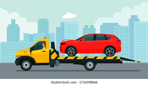 A tow truck with a driver transports a broken SUV car against the backdrop of the cityscape. Vector flat style illustration.
