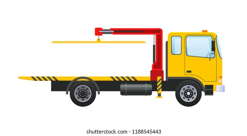 Tow truck with an equipped hydraulic manipulator, lifting crane. Car for transportation of machines to in service, parking, in case accident, breakage, road traffic accident. Vector illustration.