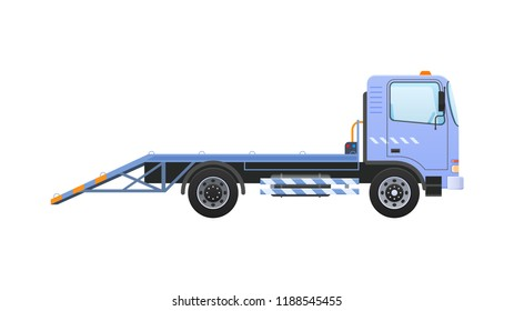 Tow truck with equipped winch, lifting transport to platform with ramps. Car for transportation of machines in service center, in case accident, breakage, road traffic accident. Vector illustration.