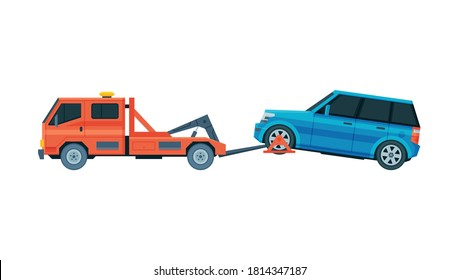 Tow Truck Evacuating SUV Car, Road Assistance and Evacuation Service Flat Vector Illustration