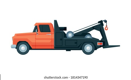 Tow Truck, Evacuation Vehicle, Road Assistance Service, Side View Flat Vector Illustration
