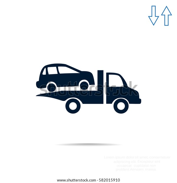 Tow truck icon flat.