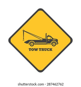Tow truck icon on a white background. Round the clock evacuation of cars. Design can be used as a logo, a poster, advertising, singboard. Vector element of graphic design