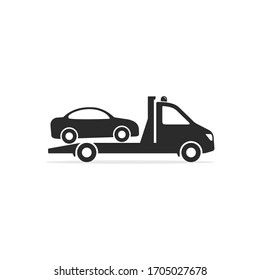 Tow truck icon, Towing truck van with car sign. Vector isolated flat illustration.