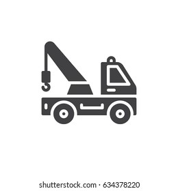 Tow truck icon vector, filled flat sign, solid pictogram isolated on white. Symbol, logo illustration. Pixel perfect