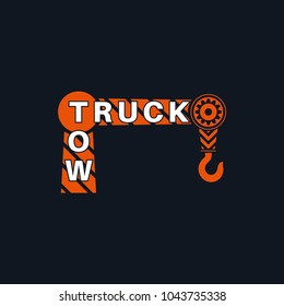 Tow truck icon. Wrecker logotip. Towing hook. Round the clock evacuation of cars. Design can be used as a logo, a poster, advertising, singboard. Vector element of graphic design