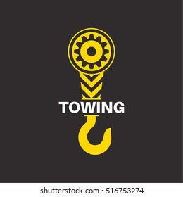 Tow truck icon. Wrecker logotip. Towing hook. Round the clock evacuation of cars. Winch. Design can be used as a logo, a poster, advertising, singboard. Vector element of graphic design