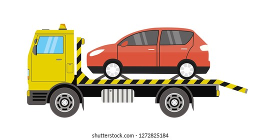 Tow truck with red car on platform,city road assistance service,isolated on white background,flat vector illustration