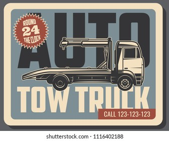 Tow truck retro grunge poster of emergency vehicle service. Towing and roadside assistance vintage banner with old wheel lift and flatbed truck for transportation themes design