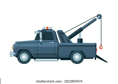 Tow Truck, Road Assistance and Evacuation Service Flat Vector Illustration