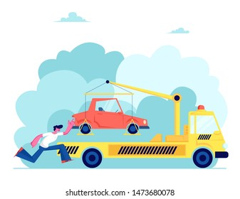 Tow Truck Take Away Car. Stressed Owner Chase, Driver in Trouble. Flatbed Car with Crane and Signaling Evacuating Transport for Wrong Parking. Evacuation Service. Cartoon Flat Vector Illustration