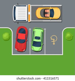Tow truck takes away car parked in the handicapped spot. Violation of Parking top view. Color Flat style vector illustration background for web design or print