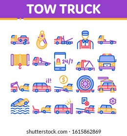 Tow Truck Transport Collection Icons Set Vector Thin Line. Tow Truck Evacuating And Transportation Broken Car, Winch And Hook Concept Linear Pictograms. Color Contour Illustrations