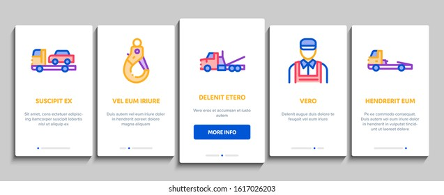 Tow Truck Transport Onboarding Mobile App Page Screen Vector. Tow Truck Evacuating And Transportation Broken Car, Winch And Hook Concept Linear Pictograms. Color Contour Illustrations