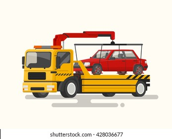 Tow truck transporting a broken machine. Vector illustration of a flat design