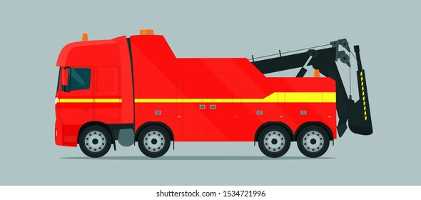 Tow truck for trucks isolated. Vector flat style illustration.
