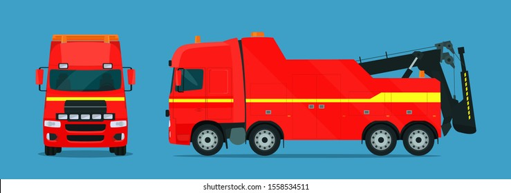 Tow truck for trucks set. Tow truck with side and front view. Vector flat style illustration.