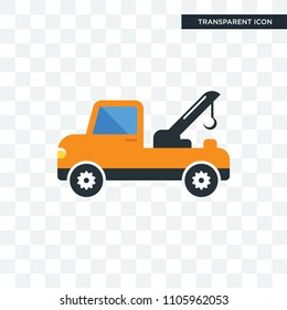 tow truck vector icon isolated on transparent background, tow truck logo concept