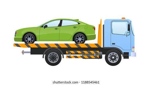 Tow truck with winch, with car, lifting transport to platform with sliding ramps. Car for transportation of machines in service, in case accident, breakage, road traffic accident. Vector illustration.