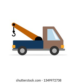 Tow truck - a working car. Vector graphics in flat style.
