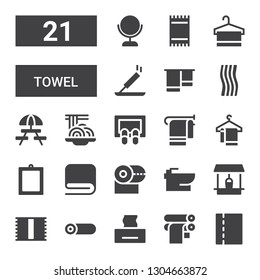 towel icon set. Collection of 21 filled towel icons included Toilet paper, Paper roll, Tissue, Roll, Towel, Well, Bidet, Mirror, Doormat, Padthai, Picnic, Incense