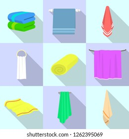 Towel icon set. Flat set of towel vector icons for web design