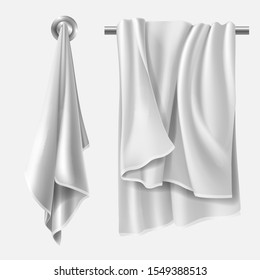 Towel mockup, textile blank folded wiper sheet hanging on hanger in kitchen and heater pipe in bathroom. Design elements mock up isolated on white background Realistic 3d vector illustration, clip art