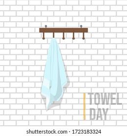 Towel on the hook design. Hook and towel vector Illustration. Towel template design.