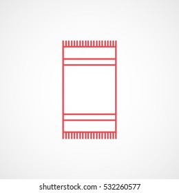 Towel Red Line Icon On White Background