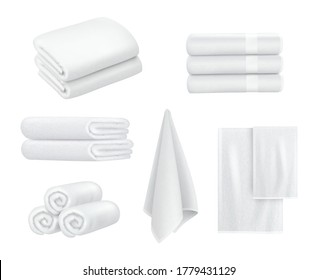 Towel stack. Luxury hotel textile items for bathroom sport or resort spa hygiene items white towels vector collection realistic
