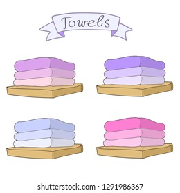 Towels collection with ribbon. Vector hand drawn collection. Bath towels clip art sketch illustration