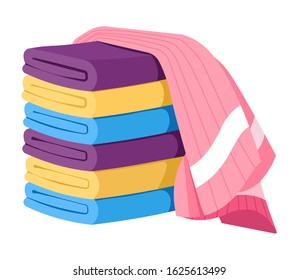Towels folded in stack with one cotton towel draped on top. Terry bath sheet of various colors. Clean, fresh household fluffy textile, washcloth. Graphic vector illustration on white background.