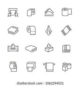 Towels and napkins related icons: thin vector icon set, black and white kit