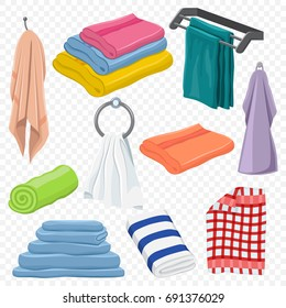 Towels set: hanging, white, beach, roll, for spa, kitchen, bath and others. Vector cartoon icons isolated on a transparent background.