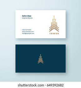 Tower Abstract Geometry Minimal Vector Sign, Symbol or Logo and Business Card Template. Premium Line Style Building Concept. Real Estate Emblem. Isolated.
