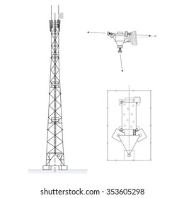 Tower with antennas of cellular communication. Microwave and cell site antennas. Vector illustration isolated on white background. Side and top views