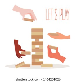 Tower balance jenga game. Wooden stack block toy. Different positions. Hands with separate pieces of blocky, risk game. Vector illustration isolated on white background.