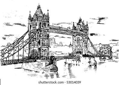 Tower Bridge - hand draw sketch illustration