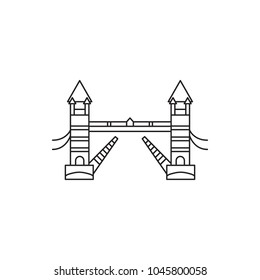 Tower bridge icon. Outline tower bridge vector icon for web design isolated on white background