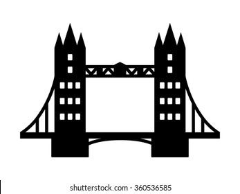 Tower Bridge landmark in London flat vector icon for apps and websites