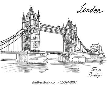 architectural drawings of bridges. Tower Bridge, London, England, UK. Hand Drawn Illustration. Vector Vintage Background Architectural Drawings Of Bridges A